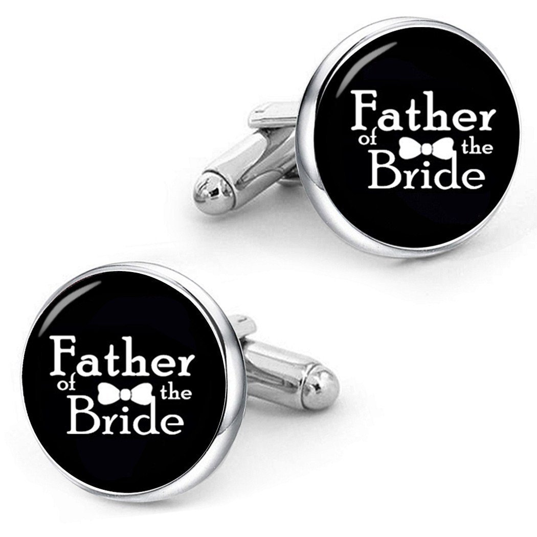 Kooer Father of the Bride Cufflinks Custom Personalized Wedding Cuff Links For Dad Father (Father of the bride-Silver plated cufflinks)