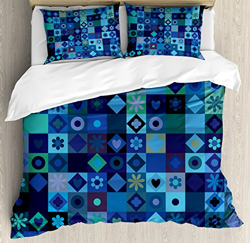 Indigo Duvet Cover Set King Size by Ambesonne, Play Cards Inspired Hearts Circles Squares Flower Modern Image, Decorative 3 Piece Bedding Set with 2 Pillow Shams, Blue Fren Green Black and Purple by Ambesonne