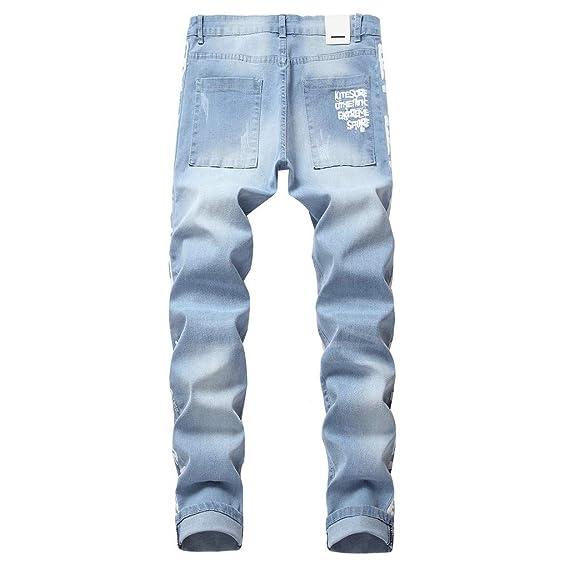 SEXYYE Vaqueros Hombre Skinny Rotos Pitillo Pantalones ...