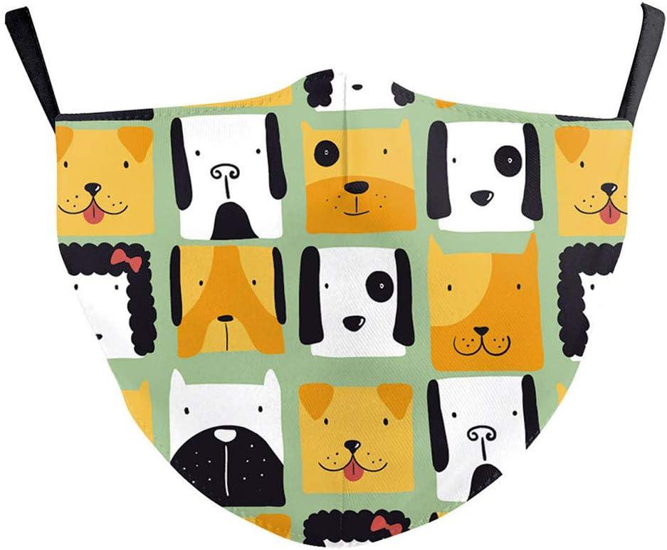 Taille L QQQQ Bandanas de bouche avec motif animal mignon lavable r/éutilisable pour le visage et la respiration pour les activit/és de plein air E