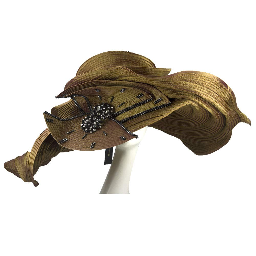 KUEENI Women Hats Church Hats Exaggeration Designer Fashion Lady Wide Brim Hats (Brown) by KUEENI