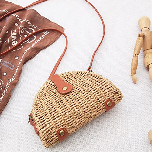 Bag Straw Retro Through And Purse Caffeine Mini Jiang Light Straw Vintage Zero Woven Biased Straw Shoulder Single Straw Minghui Bag Art Female qCxaPwP