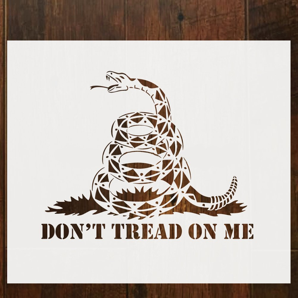 Don't Tread On Me Gadsden Flag Stencil Template for Painting on Wood, Walls, Fabric, Airbrush Reusable 12 x 14 inch Mylar Template YIXIKJ
