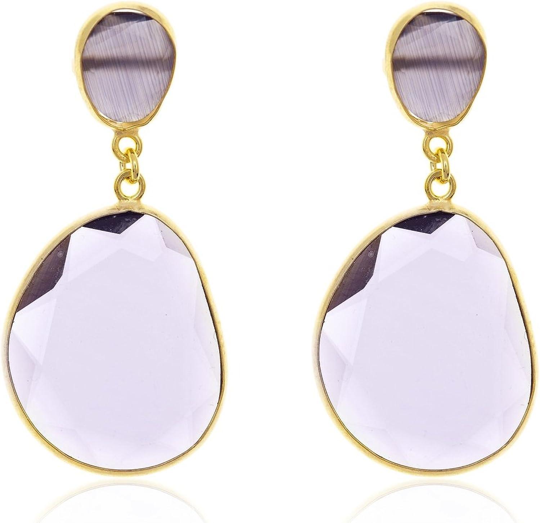 Córdoba Jewels | Pendientes en plata de Ley 925 bañada en oro con piedra semipreciosa. Diseño Luxury Amatista Oro