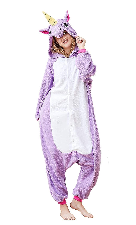 f535436c61aa Amazon.com  Xiqupjs Unisex Adult Unicorn Cosplay Costumes Animal Onesies  Pajamas Halloween Homewear Xmas Jumpsuit  Clothing