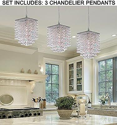 "***Set of 3*** Modern Contemporary Crystal Pendant Chandelier Lighting H 9"" X W 6"""