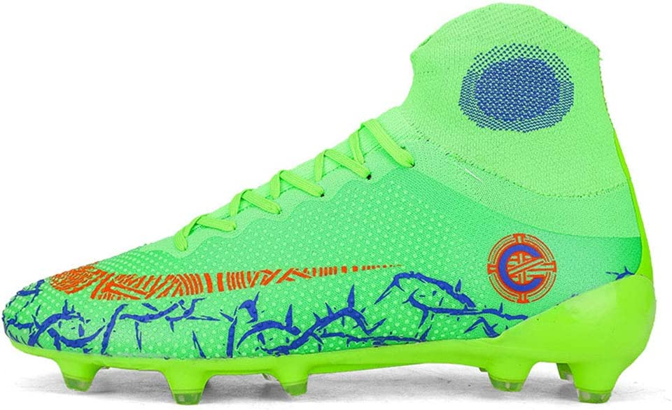 Long Spikes Boots Soccer Cleats for Men High-top Lace-up,Adult Football Training Shoes//Soccer Athletics Training Shoes Indoor Outdoor Sneakers ,Green,35
