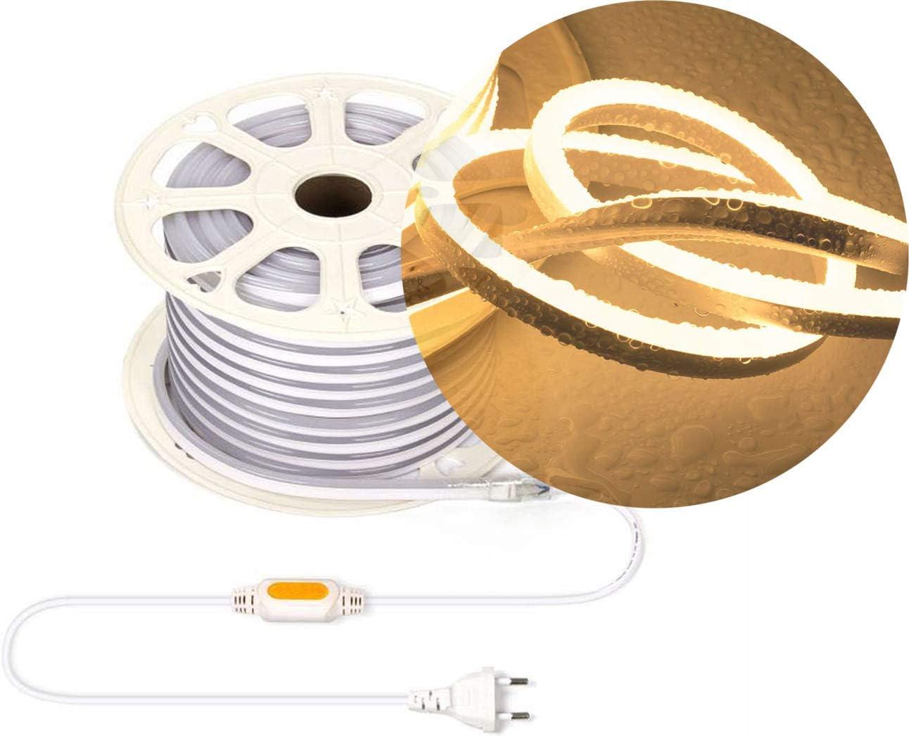 Ogeled Tira de luces LED de neón de 1 a 50 m, blanco cálido, blanco neutro, blanco frío, sin puntos de luz, resistente al agua, para interior/exterior, 230 V, regulable (blanco cálido, 3 m)