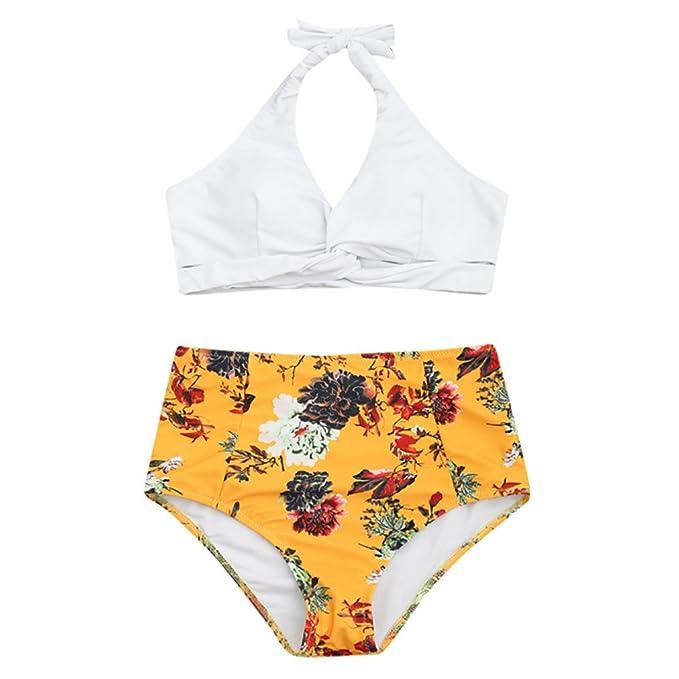 Amarillo Mujeres Conjunto de Bikinis Atractivo Mujer Sujetador Push-up de Mujer Bikinis Brasileño Mujer