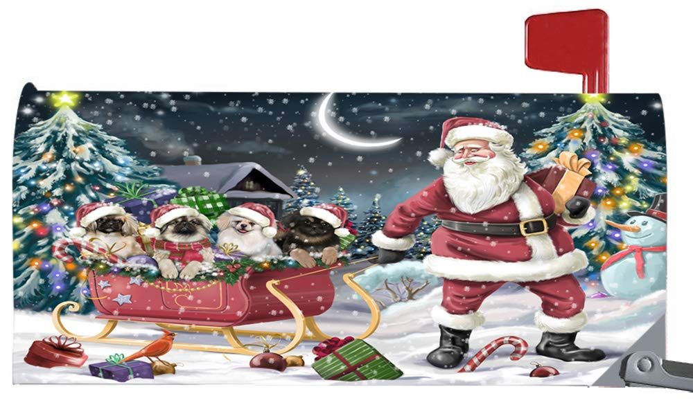 Doggie of the Day Magnetic Mailbox Cover Santa Sled Christmas Happy Holidays Pekingeses Dog MBC48134