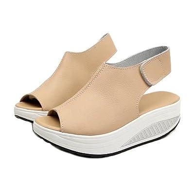cdc9b9ac5d Amazon.com | Sandals for Women, Women's Velcro Leather Comfort Peep Toe  Walking Wedges Sandals Platform Heeled Shoes for Women | Platforms & Wedges