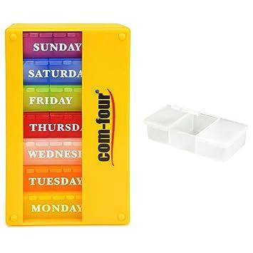 com-four® medicador 7 días en el INGLÉS, dosificador semanal por la mañana