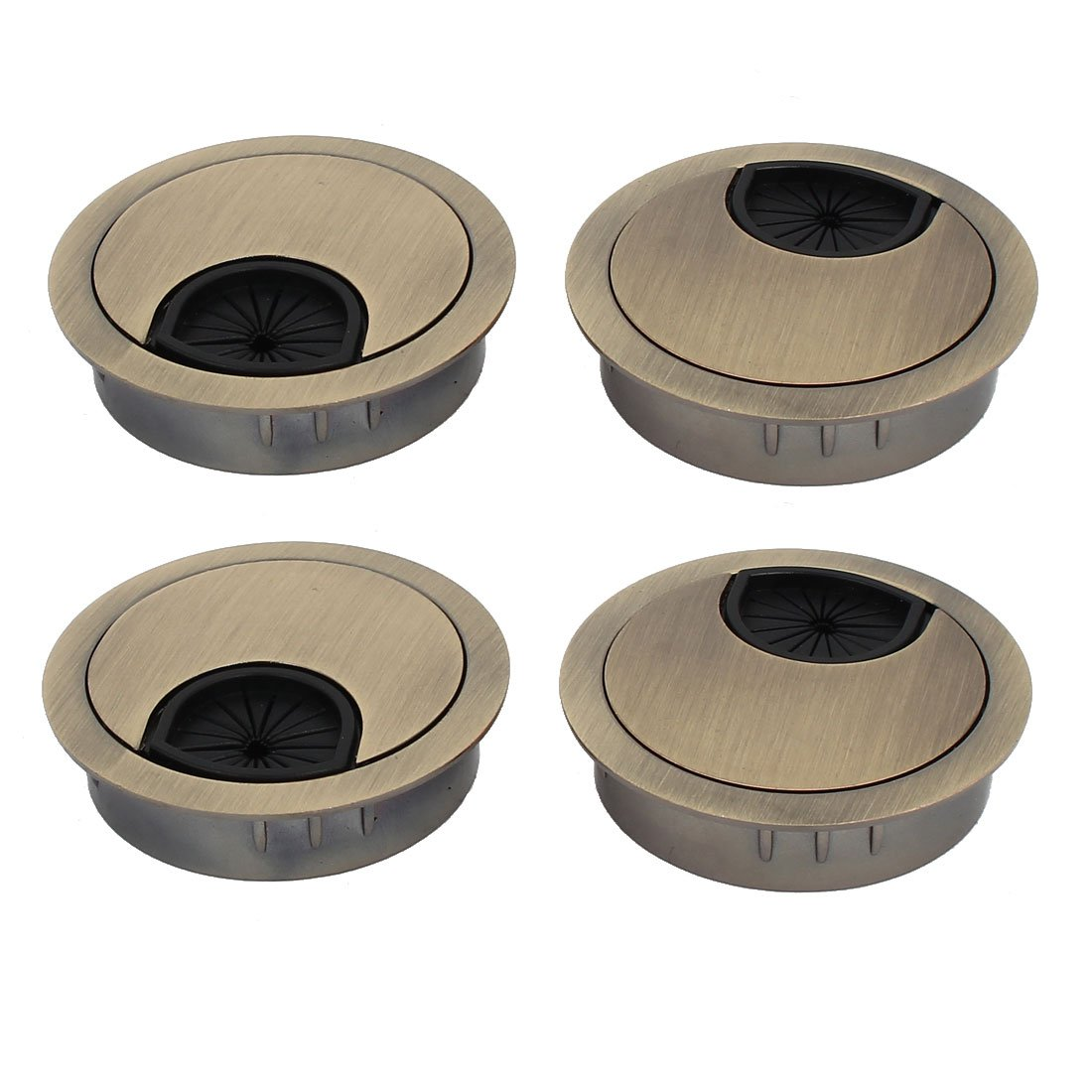uxcell Computer Desk 50mm Dia Zinc Alloy Grommet Wire Cable Hole Cover Bronze Tone 4pcs by uxcell