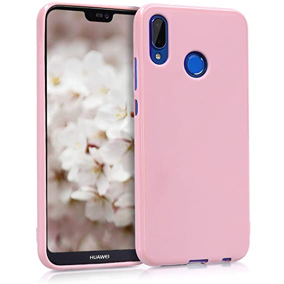 kwmobile TPU Silicone Case for Huawei P20 Lite - Soft Flexible Shock Absorbent Protective Phone Cover - Antique Pink Matte