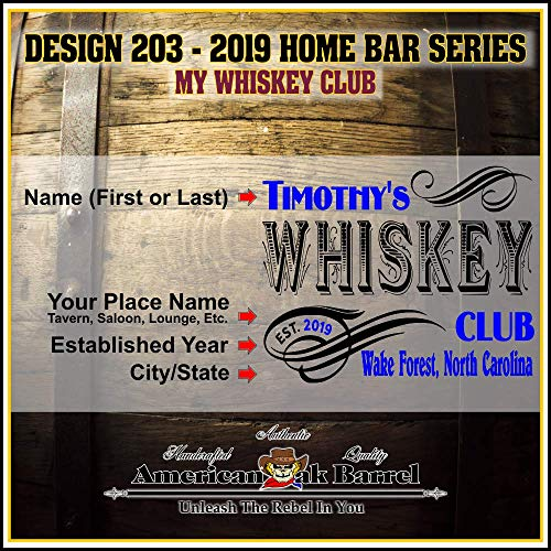 Personalized American Oak Whiskey Aging Barrel (203) - Custom Engraved Barrel From Skeeter's Reserve Outlaw Gear - MADE BY American Oak Barrel - (Natural Oak, Black Hoops, 2 Liter) by American Oak Barrel (Image #1)
