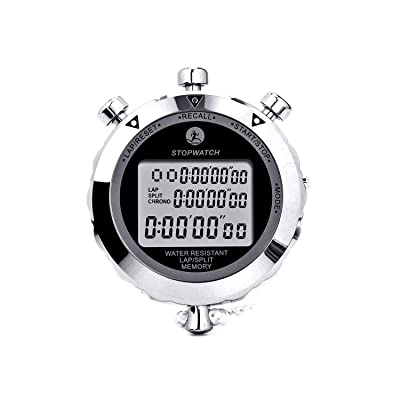Rolilink Stopwatch Metal Stop Watch Timer 30 Lap Memory Coach Sports Timer
