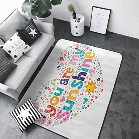 Cute Design Anti-Slip Floor MAT Colorful Quotes Decor,Heart Shaped Sunshine Motivational Quote with Stars Circle Sun Cloud Infant Decor,Multi,W24x L16 Half Round Bath Rugs for Bathroom Non Slip