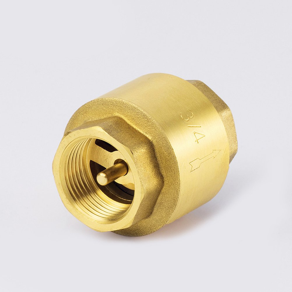 UEETEK Inline Anti Back Flow Check Valve Coupler Brass Fitting for Fuel Air Water Gas Oil DN20 3//4