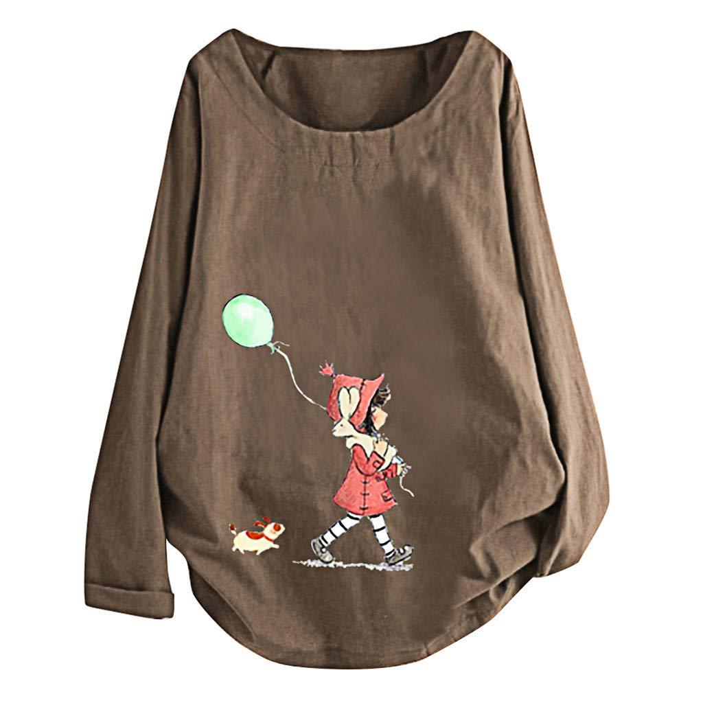 Quartly Plus Size Women Roll up Long Sleeve Cotton Linen O-Neck Cute Cartoon Print Blouse Top T-Shirt(Coffee,M)