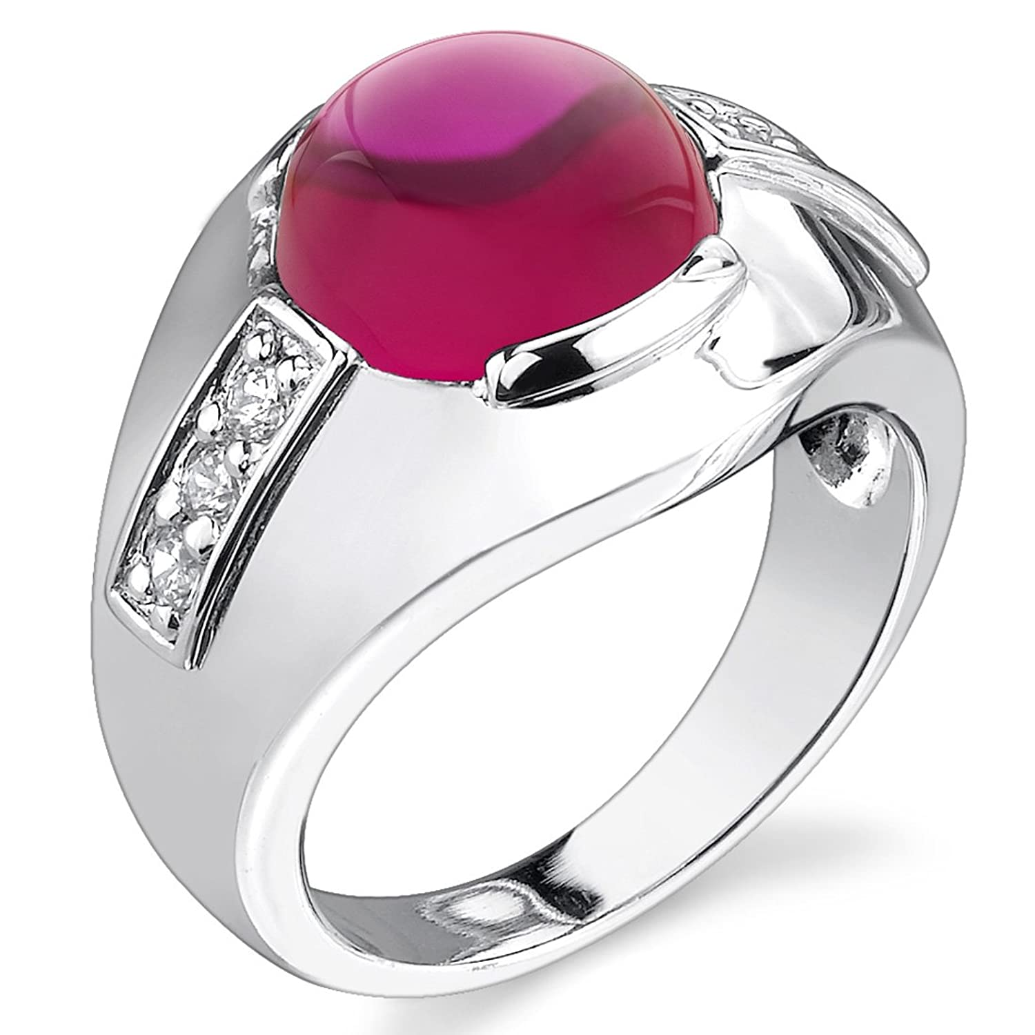 Mens 7.00 Carats Round Cabochon Created Ruby Ring in Sterling Silver ...
