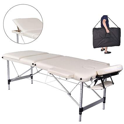 Lettino Per Massaggio Portatile In Alluminio.Pawstory 3 Zone Legno Alluminio Lettini Da Massaggio Pieghevole Tavolo Da Massaggio Portatile Estetica Tatuaggi Con Poggiatesta E Bracciolo Borsa Da