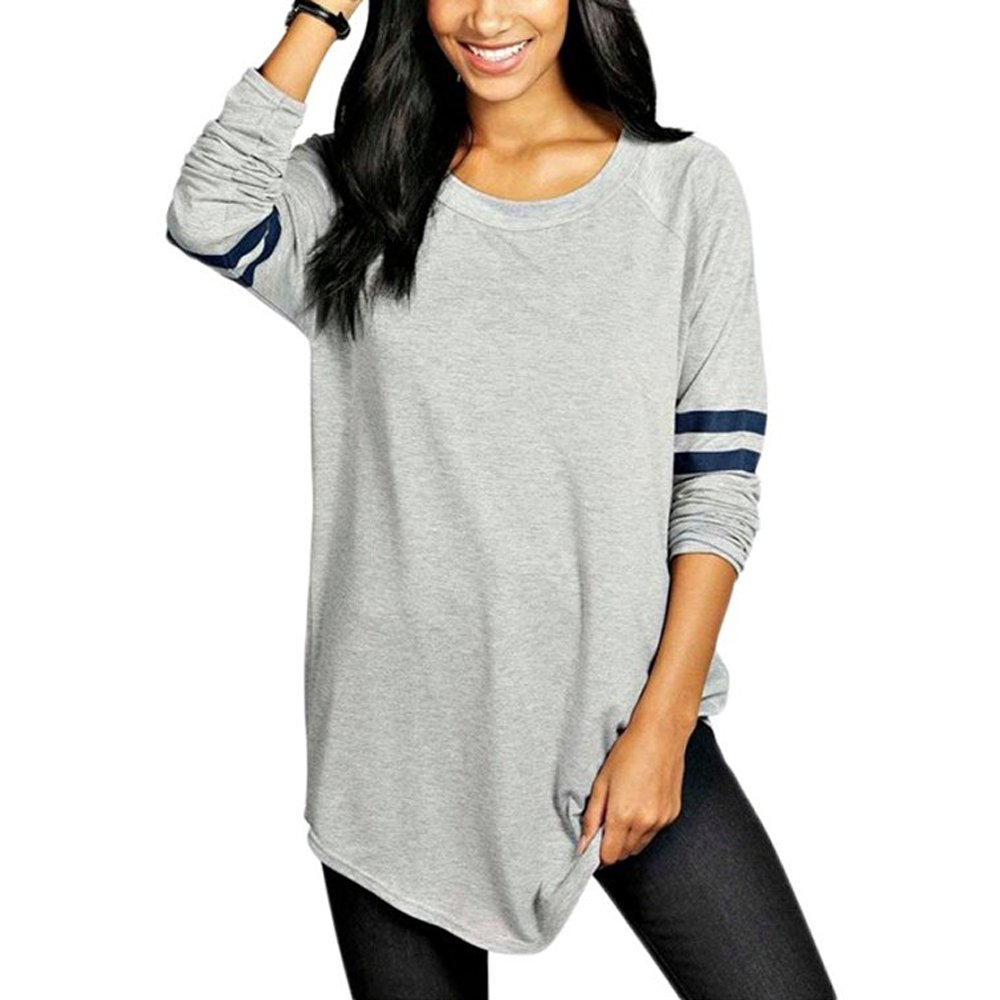 Gloria JR Womens Crewneck Long Sleeve Baseball Long T-Shirt Tunic Tops