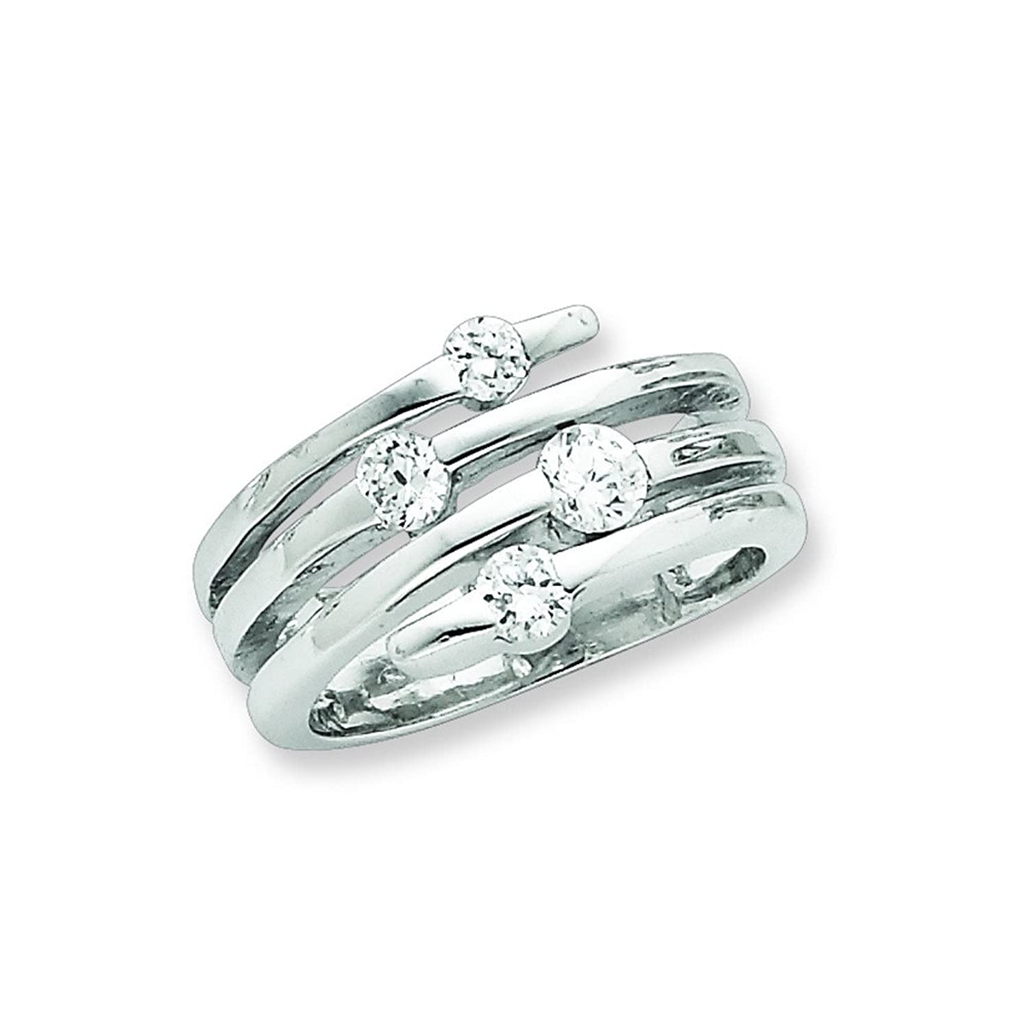 jewellery com rhodium silver amazon in intertwined cz ring dp design stackable the right rings hand plated sterling