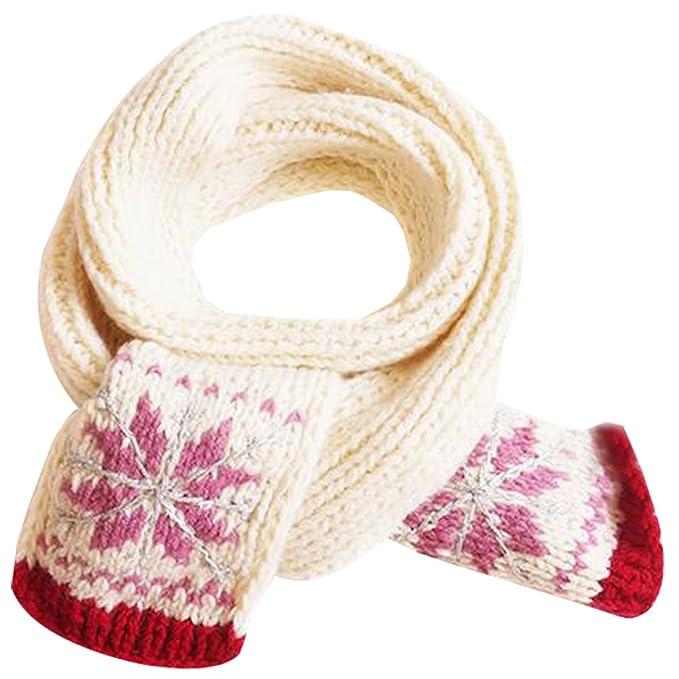 KINDOYO Niños niña patrón de copo de nieve invierno bufanda cuello ...