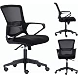 Bonsaii Mid-Back Ergonomic Mesh Office/Home/School/Gaming Chair, Adjustable and Swivel, Padded High-Density Sponge Seat with Annular Arm, Black (MB-N20B)