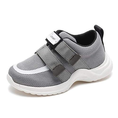 Zapatos de Deporte Casual para niños con Doble Velcro Niños Chicas Zapatillas de Deporte Negras Zapatillas de Deporte para niños Pisos de Malla Zapatos de ...