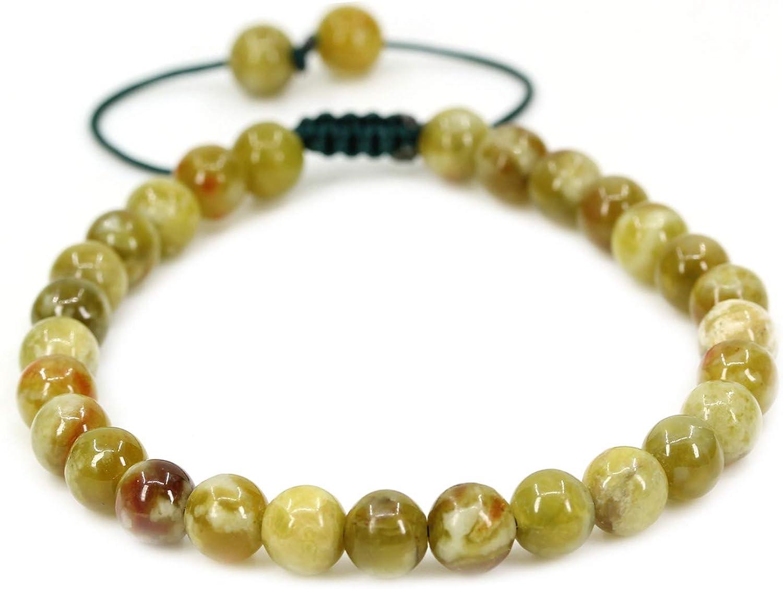 17,8 cm Chenyue Bracelet r/églable tress/é en pierres rondes naturelles de 6/mm unisexe 22,9/cm