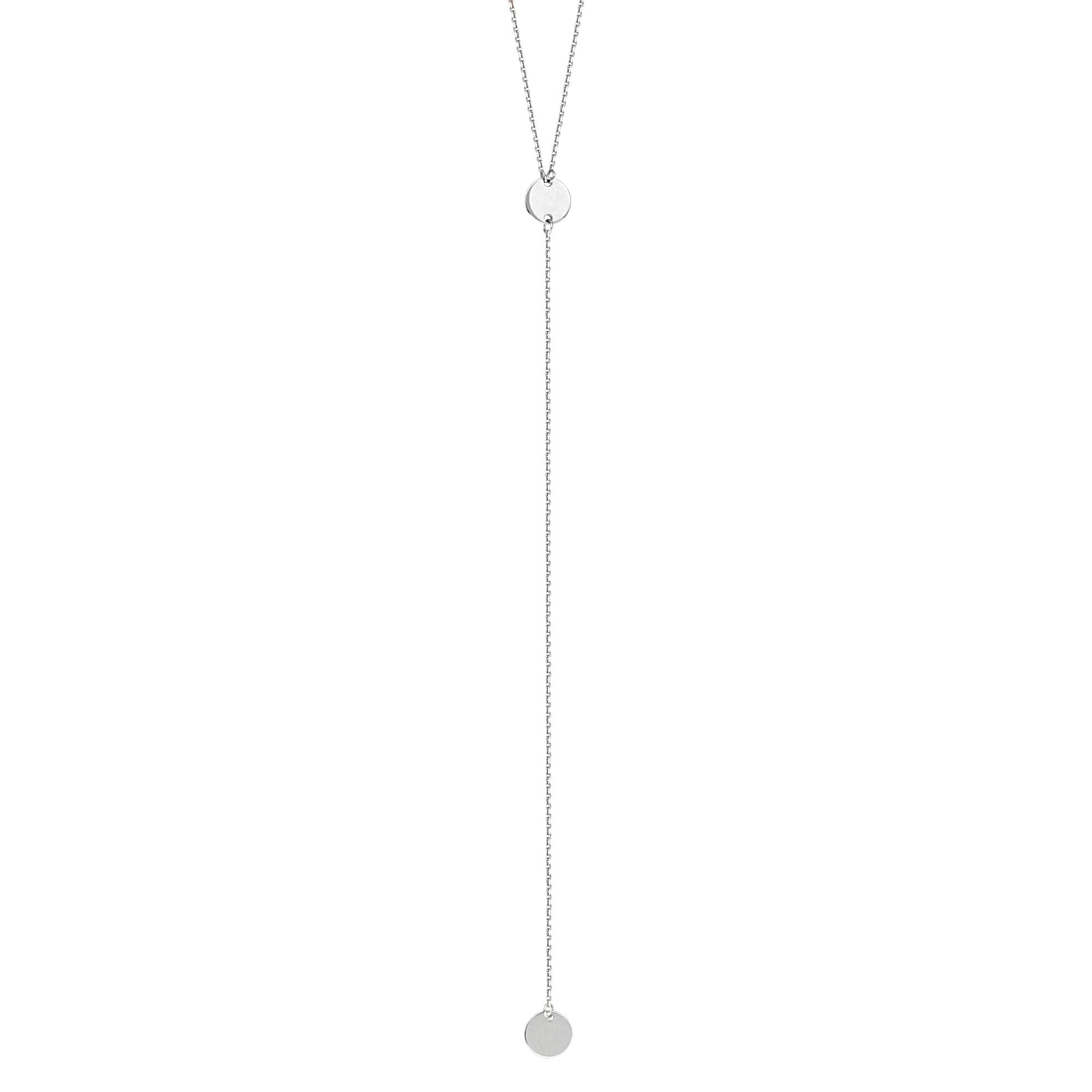 Hawley Street Y-style Lariat Necklace with Disks 14k White Gold by AzureBella Jewelry