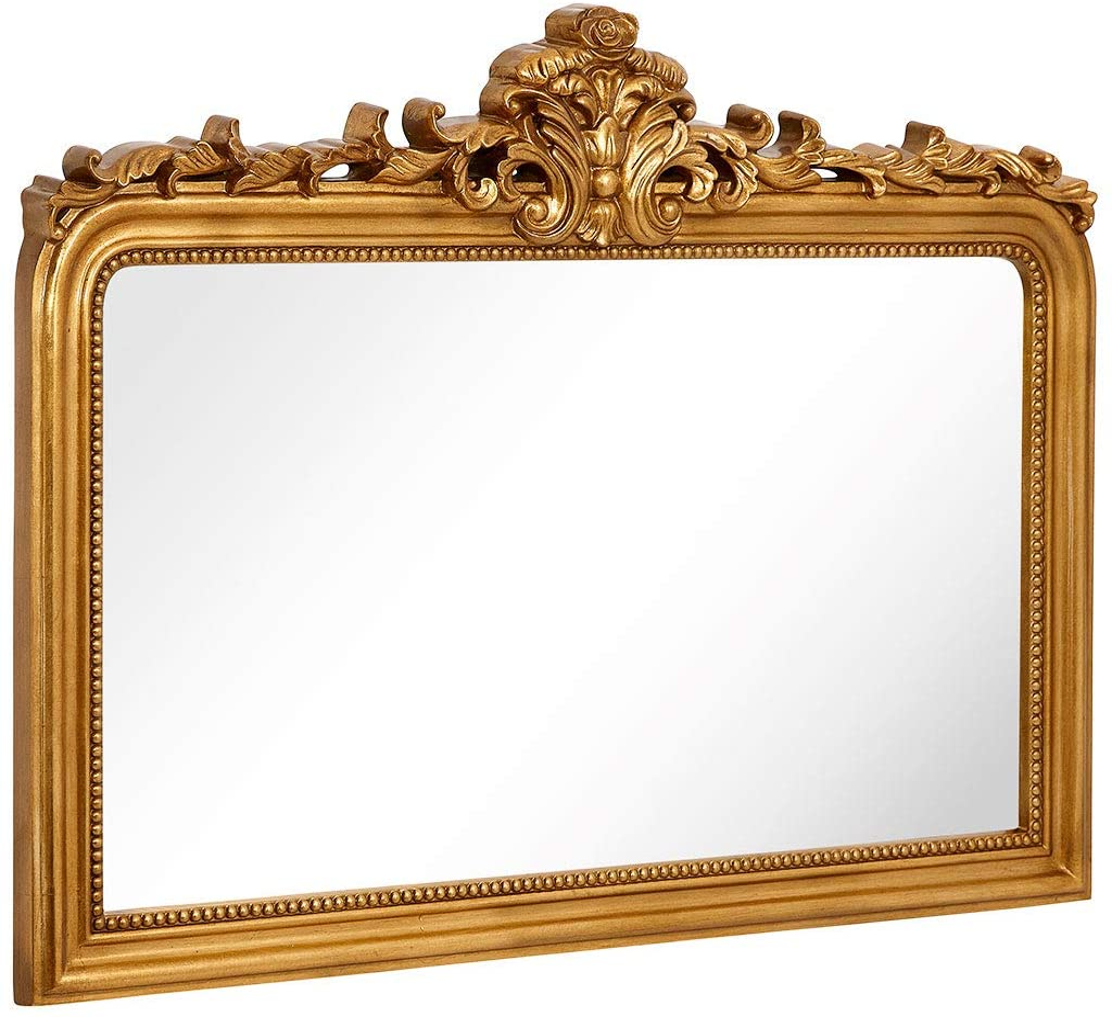 "Hamilton Hills Top Gold Baroque Wall Mirror | Rich Old World Feel Framed Beveled Elegant Glass Mirror | Horizontal Rectangle Entryway Bathroom or Powder Room (40"" x 30"")"