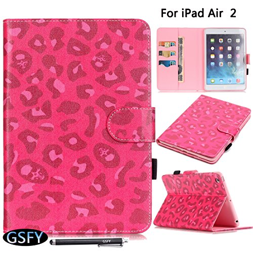 iPad Air 2 Case, Newshine(TM) Cute Flip Folio Smart Stand Cover/Skin with [Auto Wake/Sleep Function] [Card Slots/Cash Packet] [Holder for Stylus] for Apple iPad Air 2/iPad 6 (Rose Leopard)