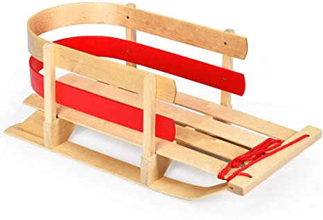 covering with BACKREST To-MA SLEIGH Baby Sleigh Wooden Cord