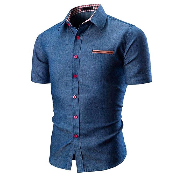 Blusas Hombre Manga Corto,Verano Stand-Cuello Botón Diario Personalidad Casuales Slim Camiseta Top: Amazon.es: Ropa y accesorios