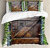 Ambesonne Rustic Duvet Cover Set King Size, Small Spanish Style Dark Stained Wood Door Secret Garden with Grated Window Picture, Decorative 3 Piece Bedding Set with 2 Pillow Shams, Brown Green