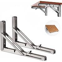 Opvouwbare Plank Beugels, Vouwplankbeugel roestvrijstalen klapconsole, 2 stuks Wandbeugel plankhouder, houder voor…