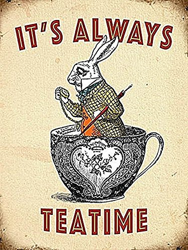 Teatime White Rabbit Vintage Style Metal Wall Plaque Sign 8