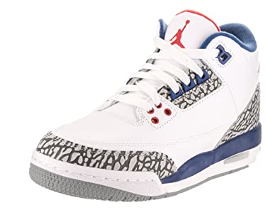 Jordan Nike Kids Air 3 Retro OG Bg White/Fire Red True Blue Basketball Shoe