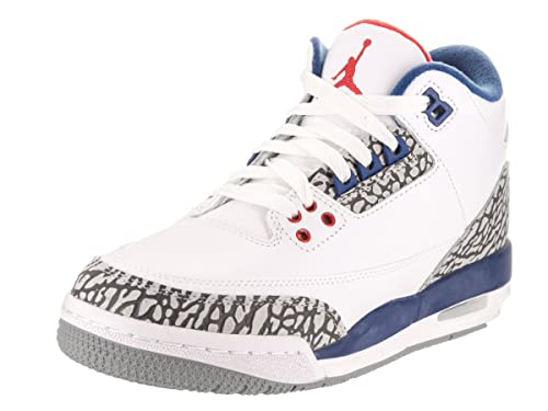 new arrivals bec96 d5d6e Jordan Nike Kids Air 3 Retro Og Bg White Fire Red True Blue Basketball Shoe