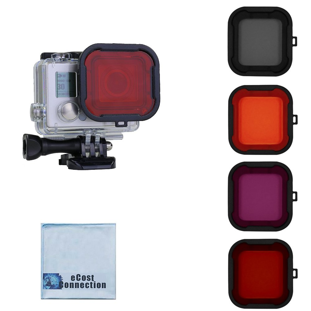 Filter Kit For GoPro Hero3+ and Hero4 Standard Housing. Red, Purple, Pink and Gray Colors. Scuba Green Water, Scuba Tropical Water, ND & Warming Filters & an eCostConnection Microfiber Cloth ECOSTGOPRO3+/4