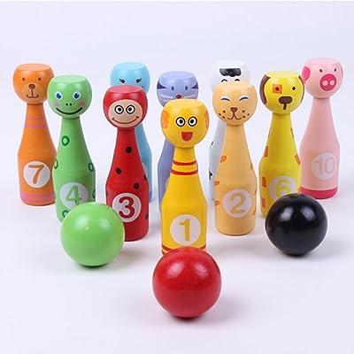 Ebeta Jeux de Quilles Bowling en Bois 10 Quilles et 3 Bowling Balle jouets pour enfants bois boule de bowling éducatifs interactifs