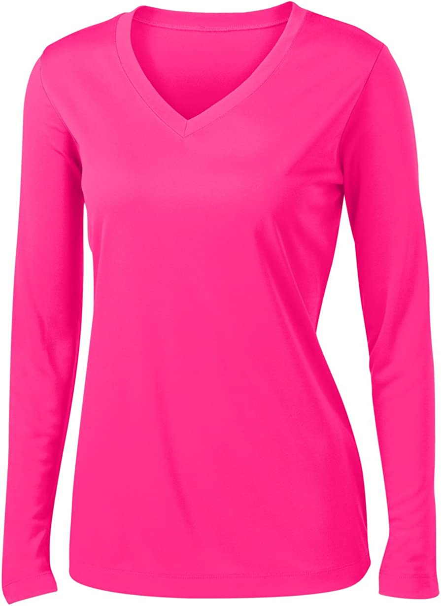 Animal Den Ladies Long Sleeve Moisture Wicking Athletic Shirts Sizes XS-4XL NEOPNK-XL Neonpink