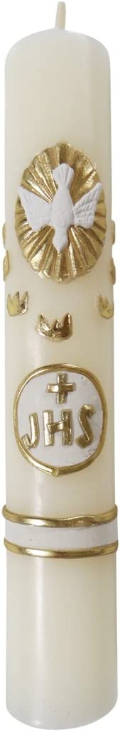 Angelitos de Mexico Small 6.3 in 16cm Seven Gifts of The Holy Spirit Wedding Confirmation Candle JHS AX-AY-ABHI-87129