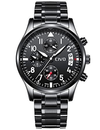 f3652160f0 [チーヴォ]CIVO 腕時計 メンズウオッチブラック ステンレススチールクロノグラフ防水 日付カレンダーアナログ