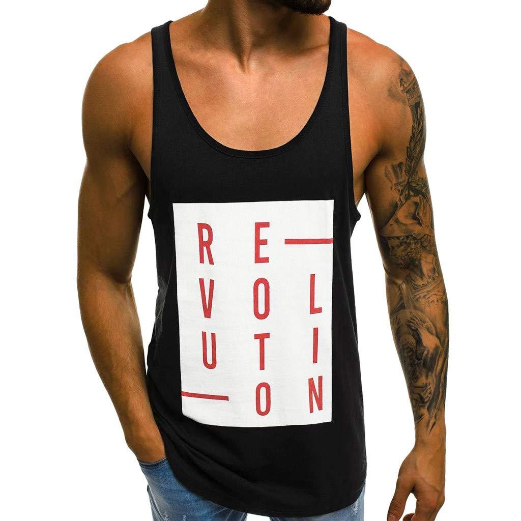 Men Tank top Sleeveless Tops Slim Letter Printed Undershirts Sport Shirt Black