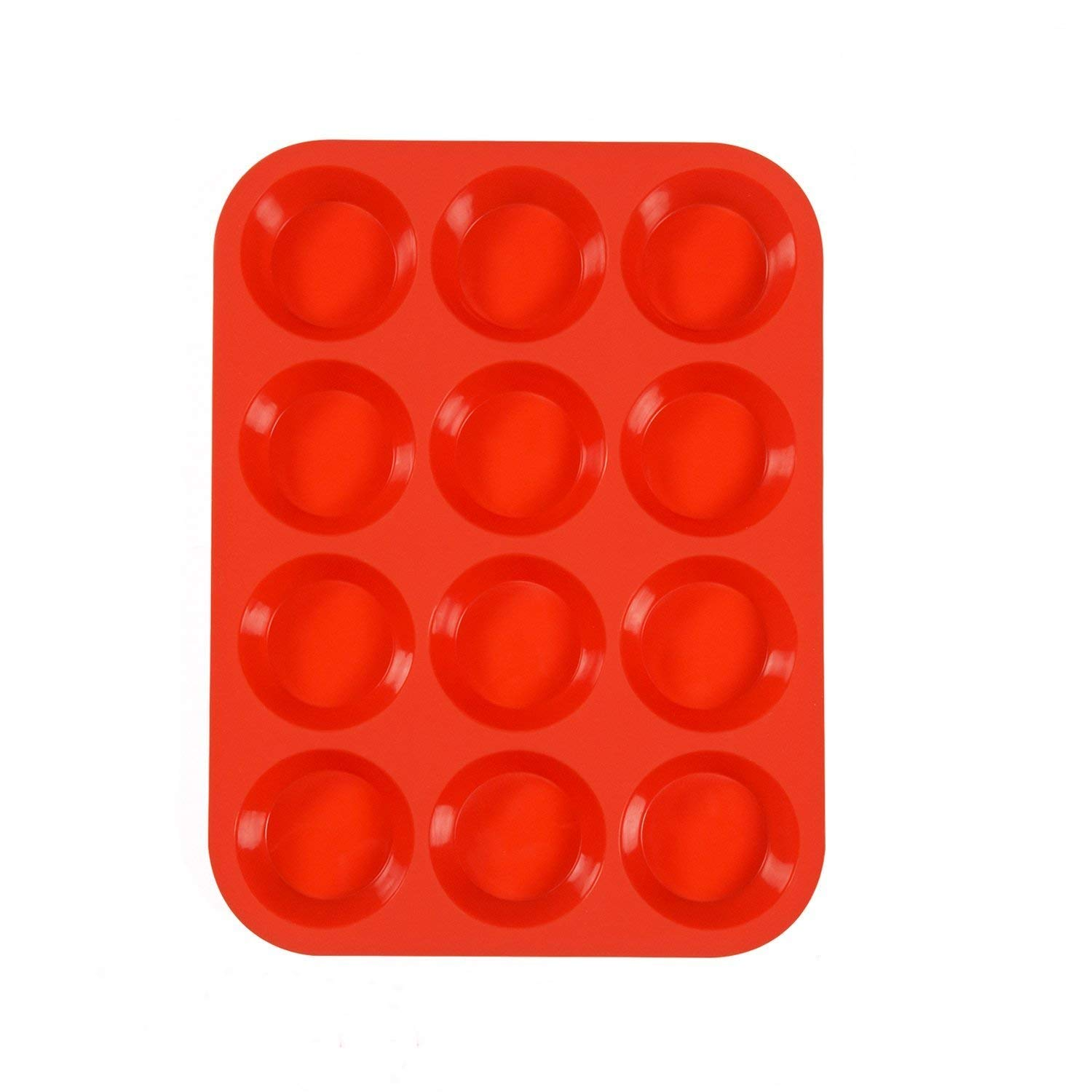 IPEC THERAPY 12 Cup Muffin Cupcake Baking Pan/Non - Stick Silicone Mold/Dishwasher - Microwave Safe, Red by IPEC THERAPY (Image #5)