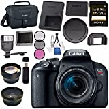 Canon EOS Rebel T7i DSLR Camera with 18-55mm Lens 1894C002 + 58mm Wide Angle Lens + 58mm 2x Telephoto Lens + Sony 128GB SDXC Card + Universal Slave Flash unit + Lens Cleaning Kit Bundle