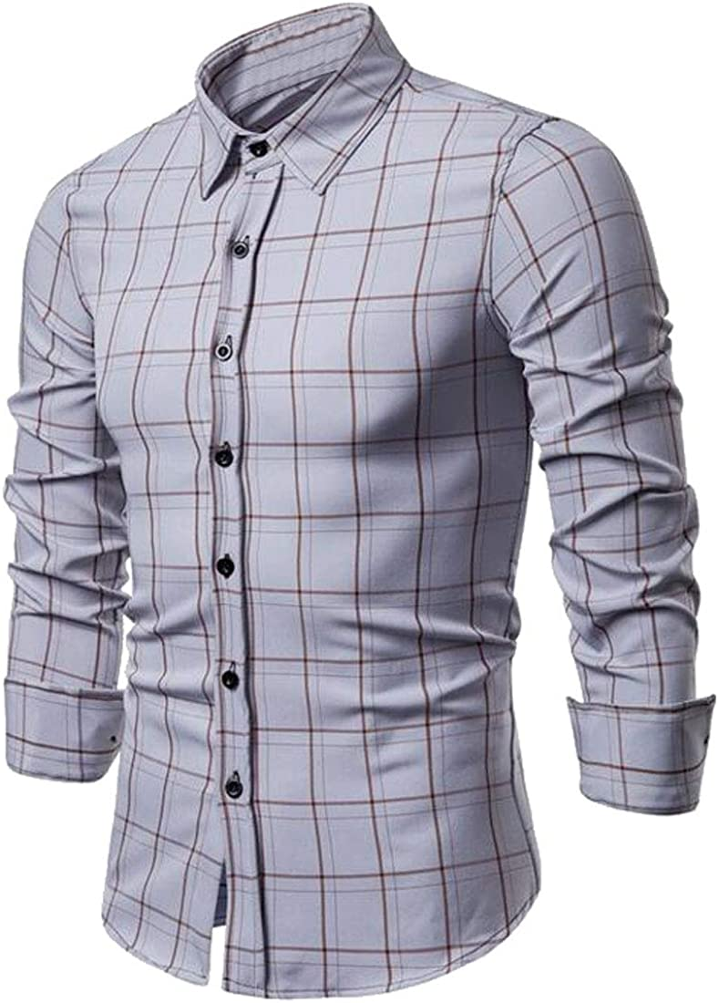 Domple Mens Slim Long Sleeve Button Up Business Plaid Dress Shirts
